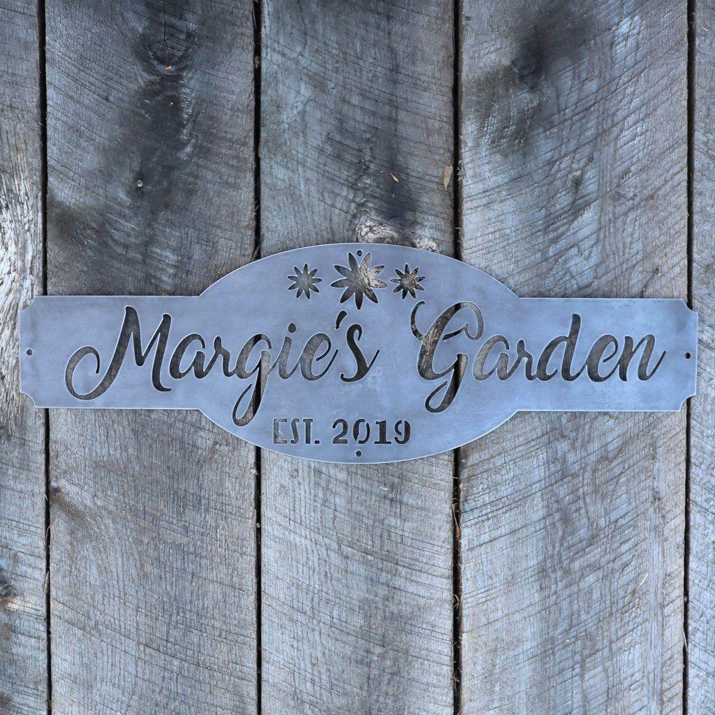 Personalized Metal Garden Sign Gardening Wall Art Name Established Year Garden Signs Garden Wall Art Garden Wall