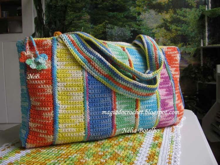 Magia do Crochet: Mala/ bolsa em crochet em vários matizados e o cantar às estrelas