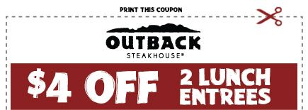 Saving 4 A Sunny Day 4 Off Lunch At Outback Outback Steakhouse Coupons Find Free Stuff