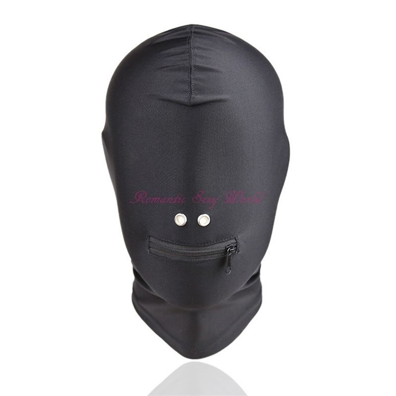 Full Head Restraint Blindfold Mask Slave Game Harness Mouth Open Hood