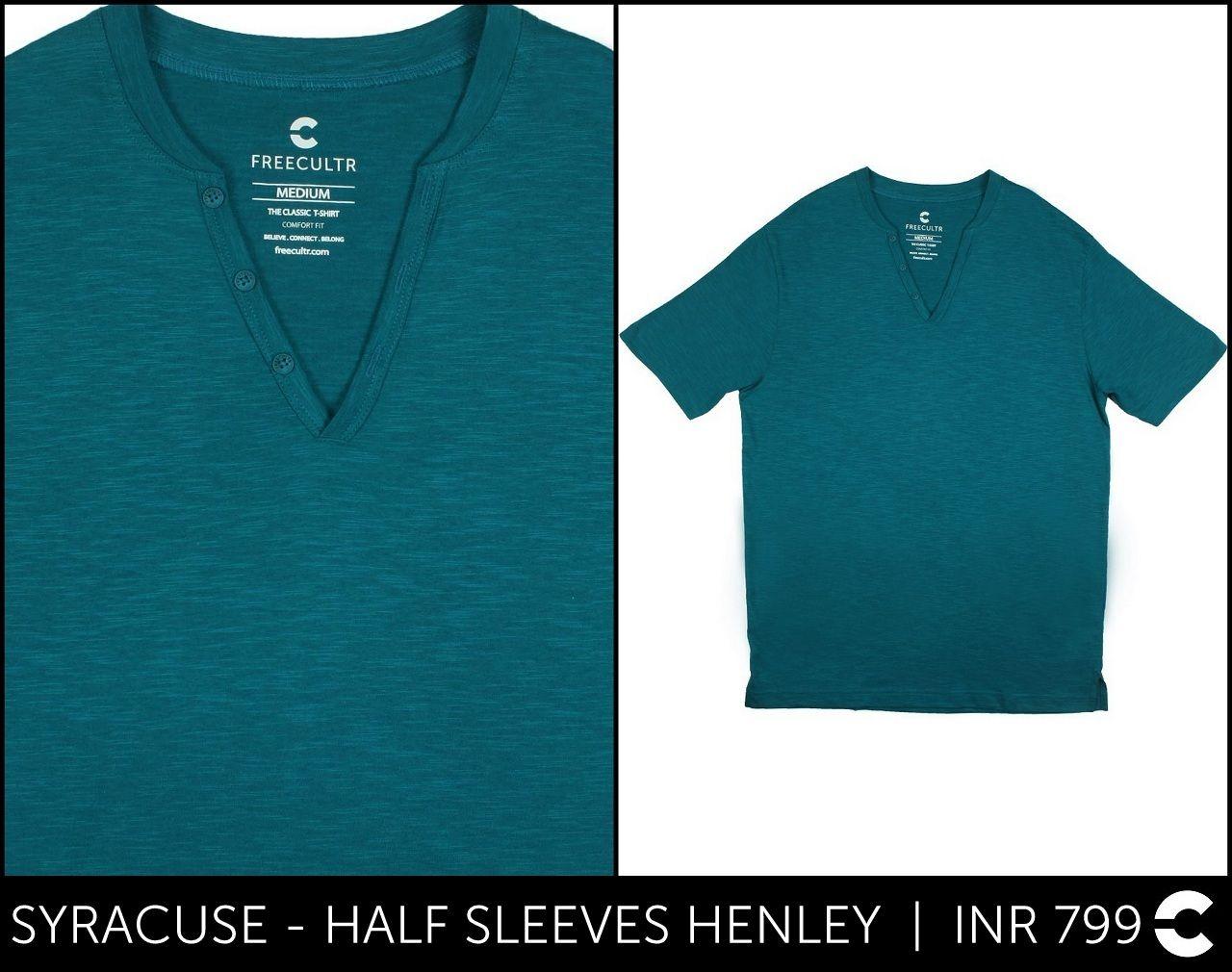 645f0b65 #FREECULTR SYRACUSE - HALF SLEEVES HENLEY INR 799 Shop: http://www
