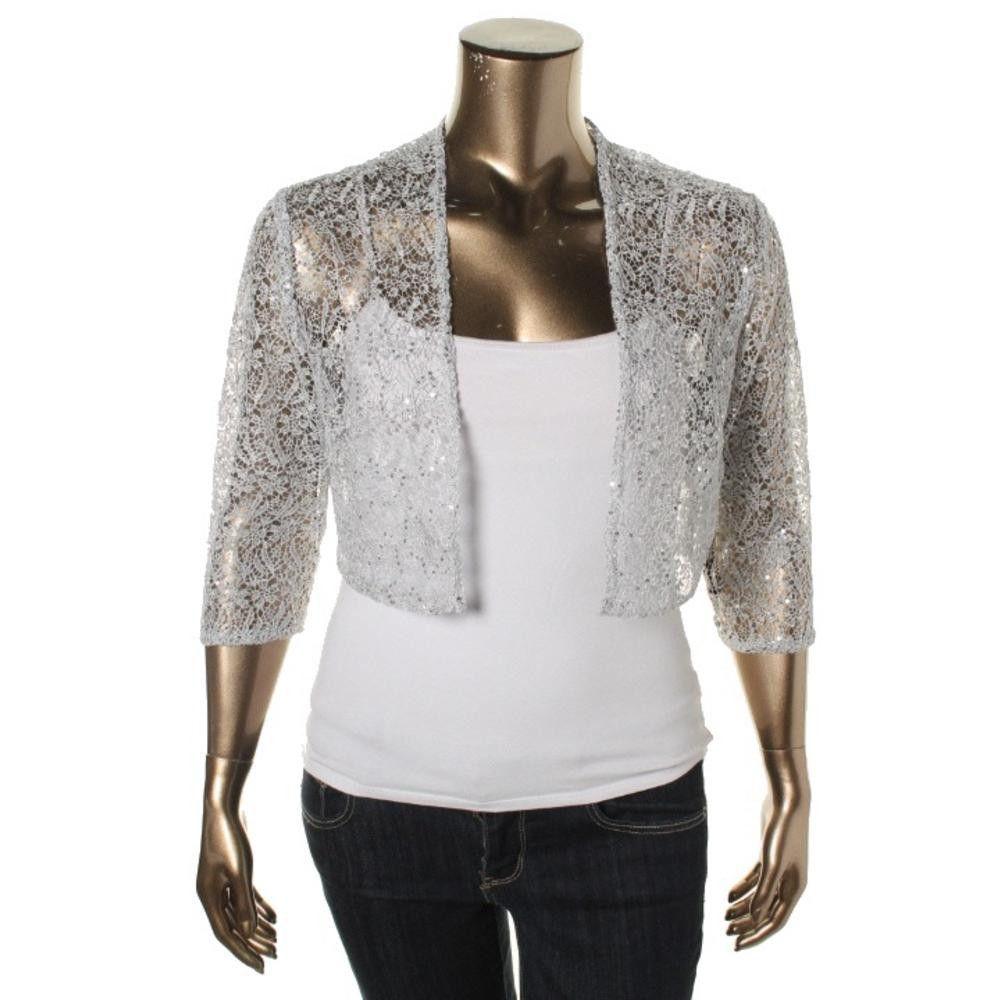 R & M Richards Womens Lace Metallic Shrug