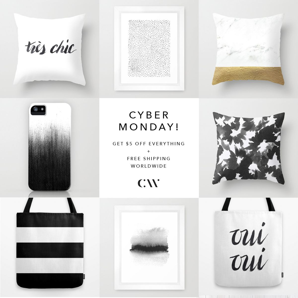 Cyber Monday : $5 Off Everything + Free Shipping Worldwide(available on 12/1/2014)  http://society6.com/caitlinworkman