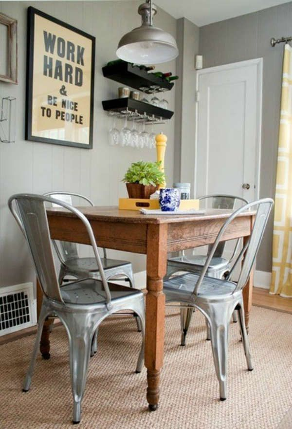 Really Like The Combination Of The Old Wooden Table And The Metal Bistro  Chairs   And The