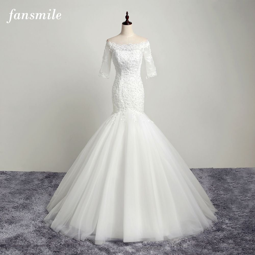Fansmile real photo open back lace mermaid wedding dresses