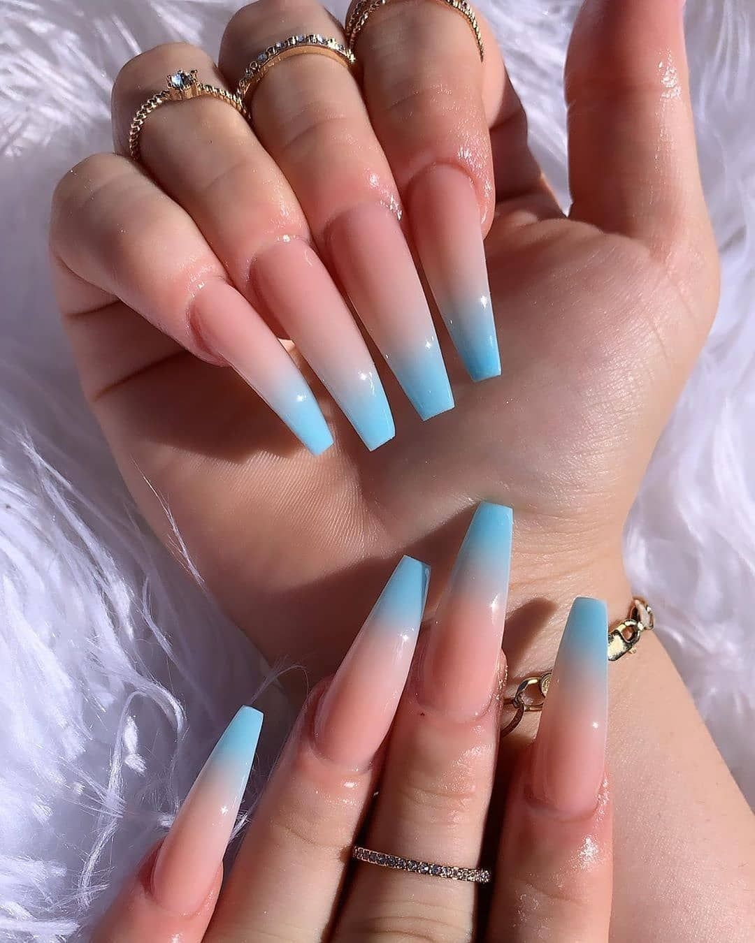 Nailartists Worldwide On Instagram Pretty Nails 1 2 3 4 5 6 7 8 Or 9 Follow Nailartis In 2020 Blue Ombre Nails Ombre Acrylic Nails Acrylic Nails Coffin Ombre