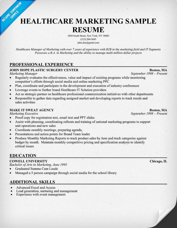 Healthcare Marketing Resume Sample (http\/\/resumecompanion - healthcare management resume
