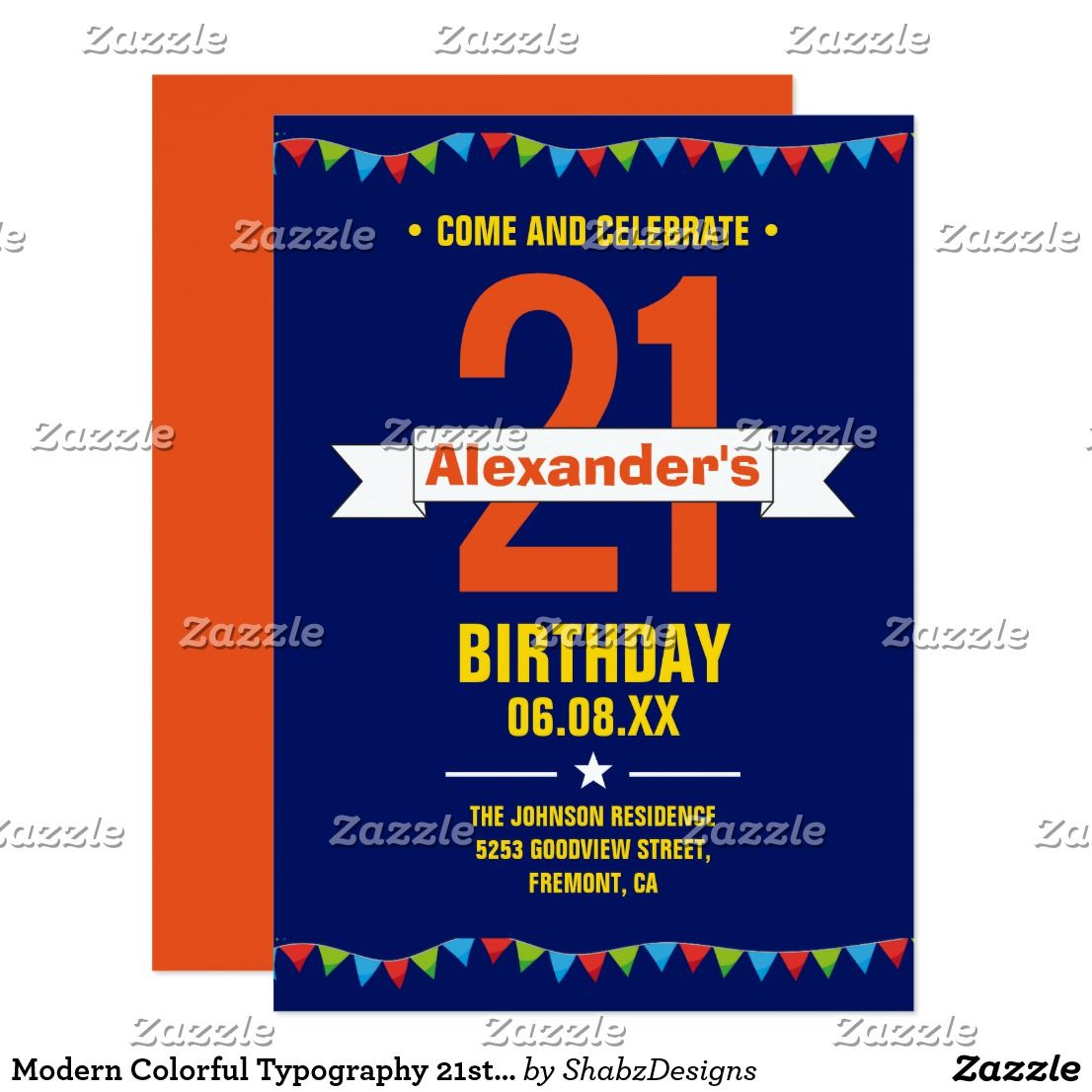 Modern Colorful Typography 21st Birthday Party Invitation ...