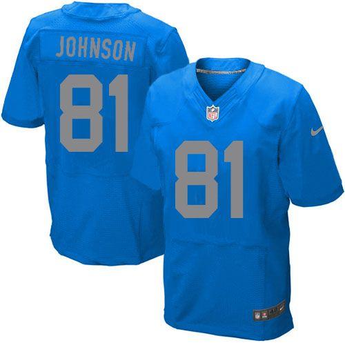 Men's Nike Detroit Lions #81 Calvin Johnson Elite Blue Alternate Jersey $129.99
