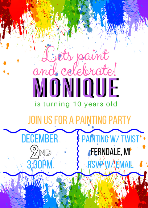 Paint party custom invite design by #MichelleHairstonDesigns.  Available on Etsy