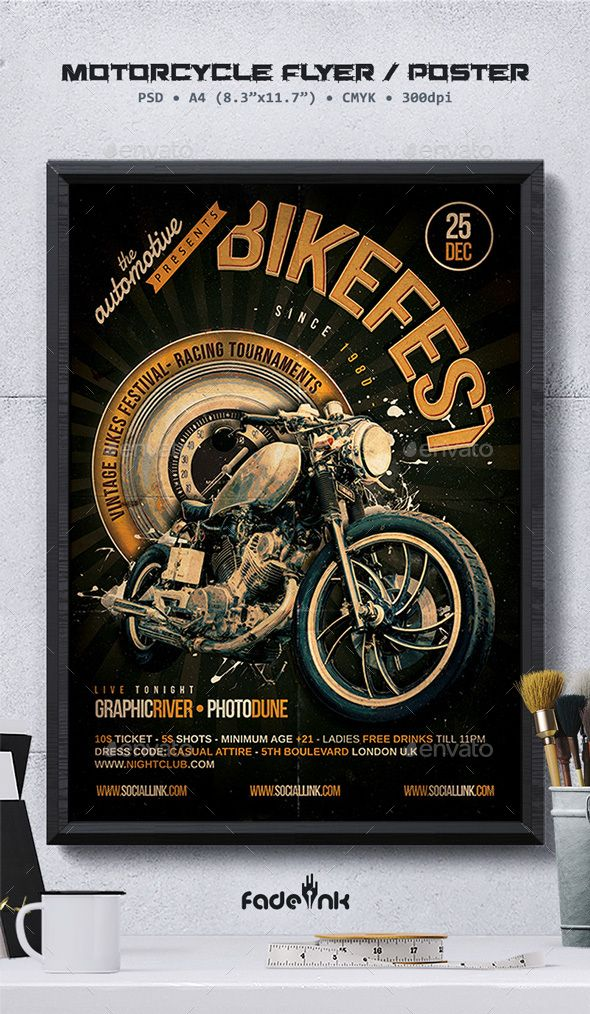 motorcycle flyer poster template clubs parties events bike