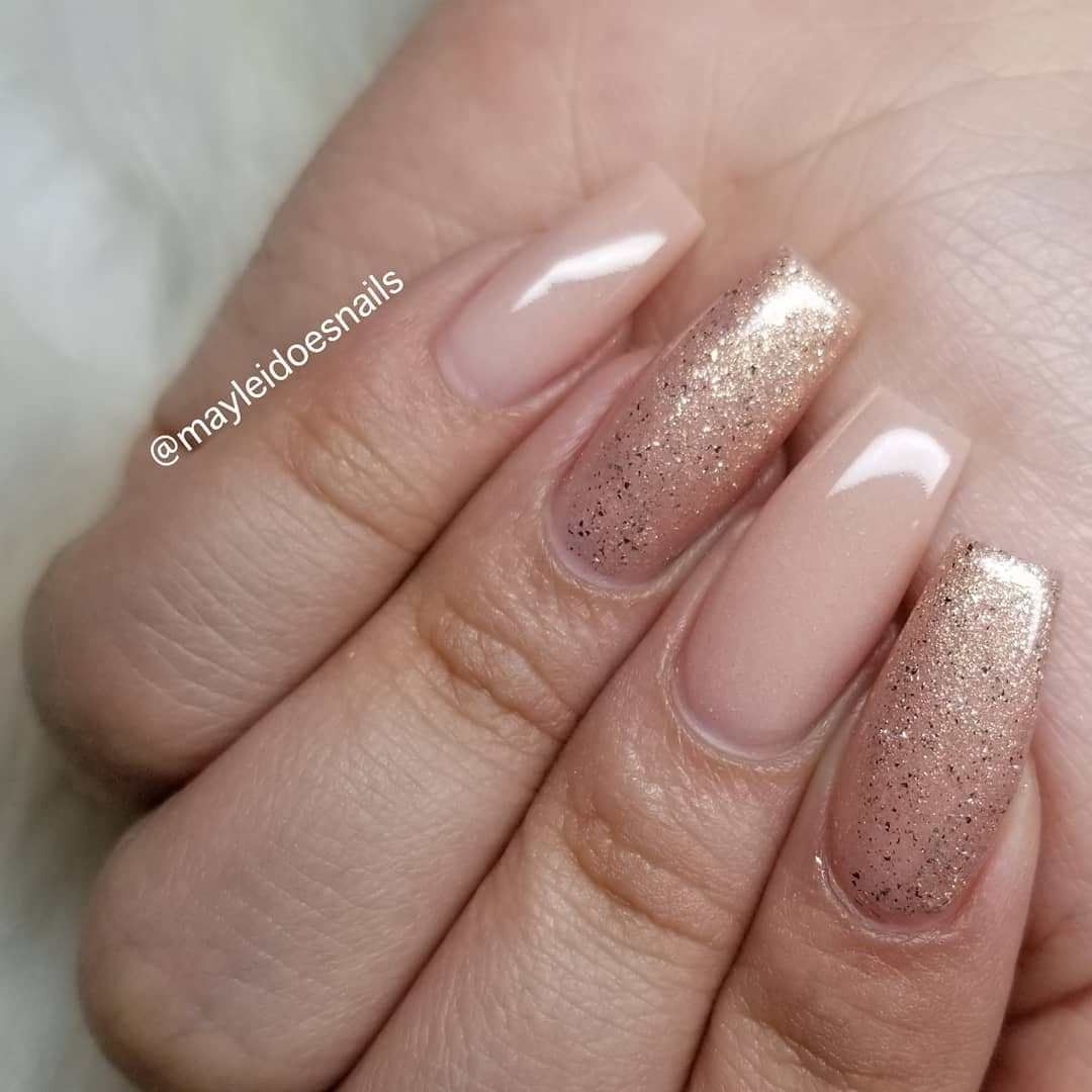 Nude And Glitter Coffin Nail Art Design 1 Top Ideas To Try
