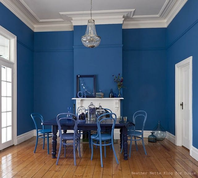 50 Bold And Inventive Dining Rooms With Brick Walls: Dining Room Blue, Dining Room Paint Colors