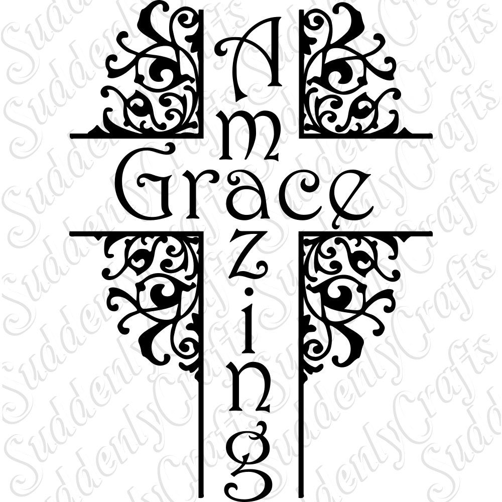 Amazing Svg: SVG Amazing Grace Decorative Cross, Cricut And Silhouette