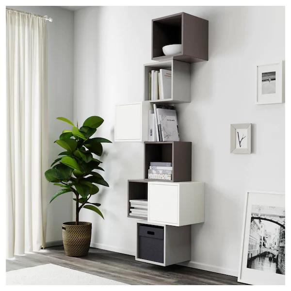 Photo of EKET Combinazione di mobili da parete – bianco / grigio scuro, grigio chiaro – IKEA