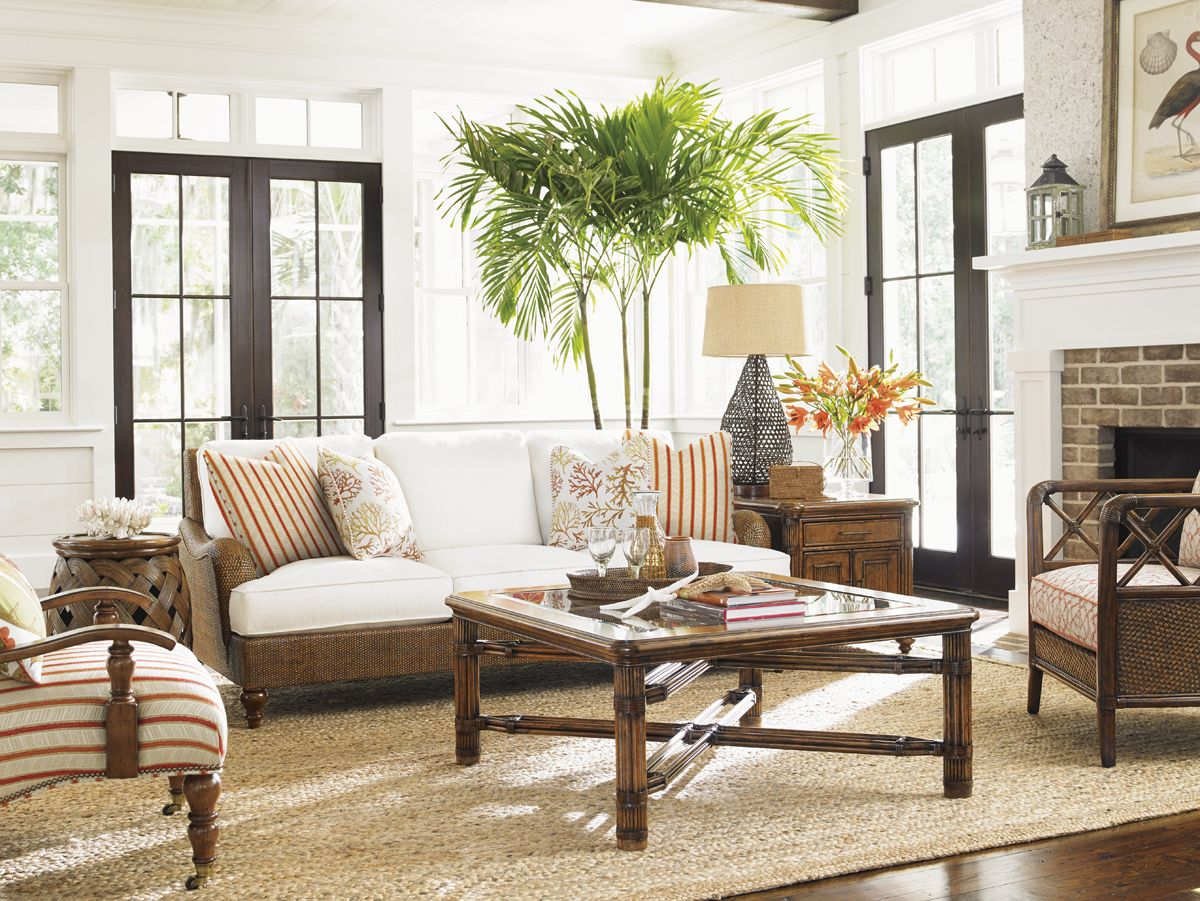 Beach House Living Room with Coral Print Pillows and Orange and ...