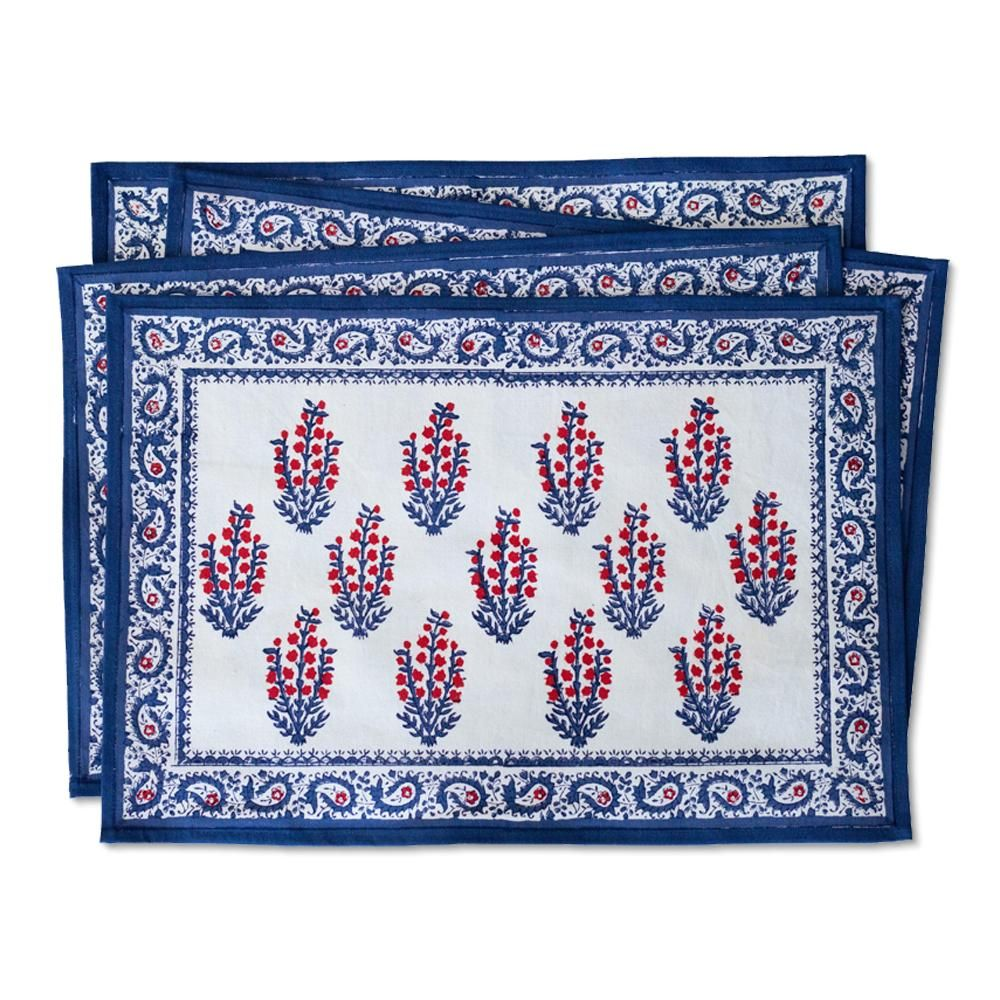 Sagar Red Blue Placemat Set Of 4 Blue Placemats Red And Blue Placemats