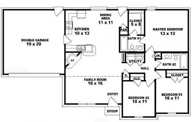 Compact One Story House Plan Idea With 3 Bedrooms Floor Plans Ranch House Plans One Story Small House Plans