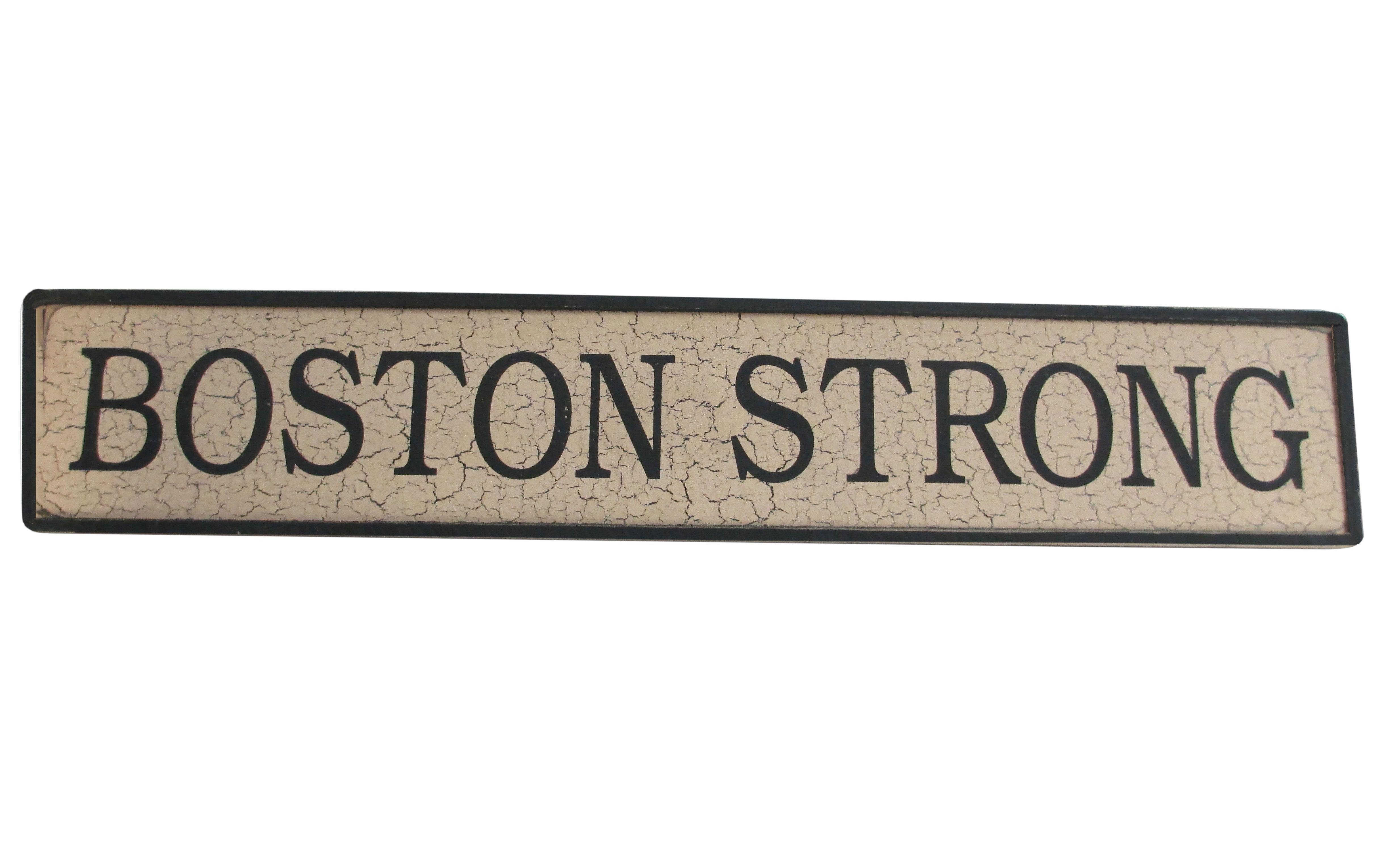 Boston strong wooden sign yankee magazine store boston