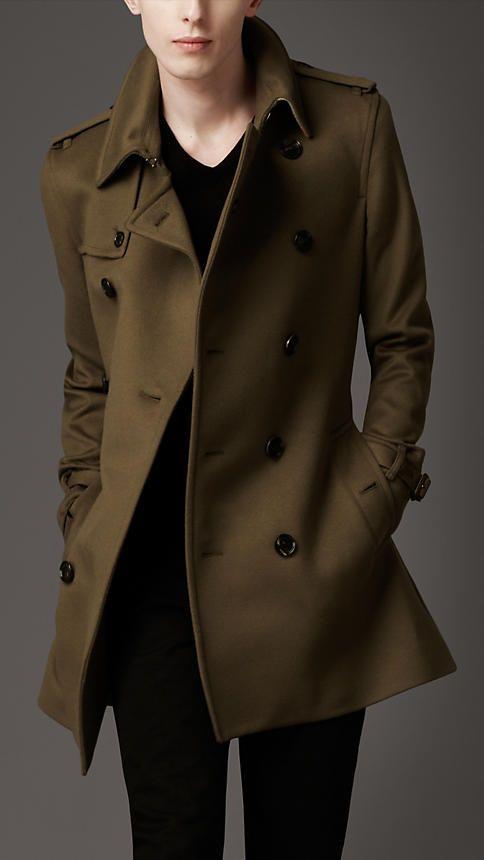 Mens Wool Trench Coat, Mens Chocolate Brown Pea Coat