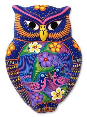 Fl Owl Mexican Ceramic Painted Folk Art This Captivating Wall Adornment By Pedro And María Is Crafted Hand