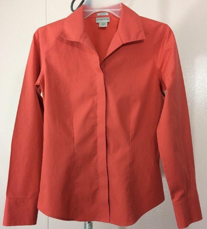 Chicos Womens Button Down Shirt Size 0 No Iron Peach Coral 100 ...