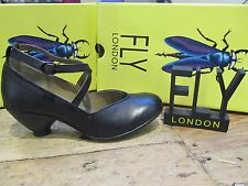 Fly London Pave Black Leather Womens Ankle Strap Buckled Court Shoe