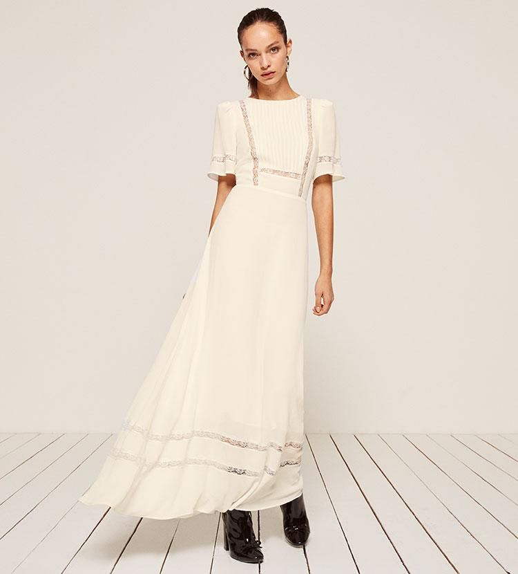 cd40adc2eaa7 Patchouli Dress    248.00 USD    Reformation    A little romance. This is a  maxi length dress with a pleated bodice and lace panels on the bodice