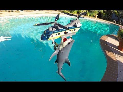 Shark attacks Lego Helicopter - YouTube   *LEGO   Lego