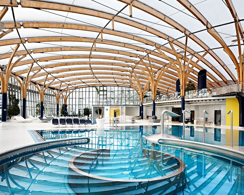Prienavera Prien Am Chiemsee Roof Made Of Etfe Skins Temme Top Meier Fabric Structures Swimming Pool Architecture Shade Structure Membrane Roof