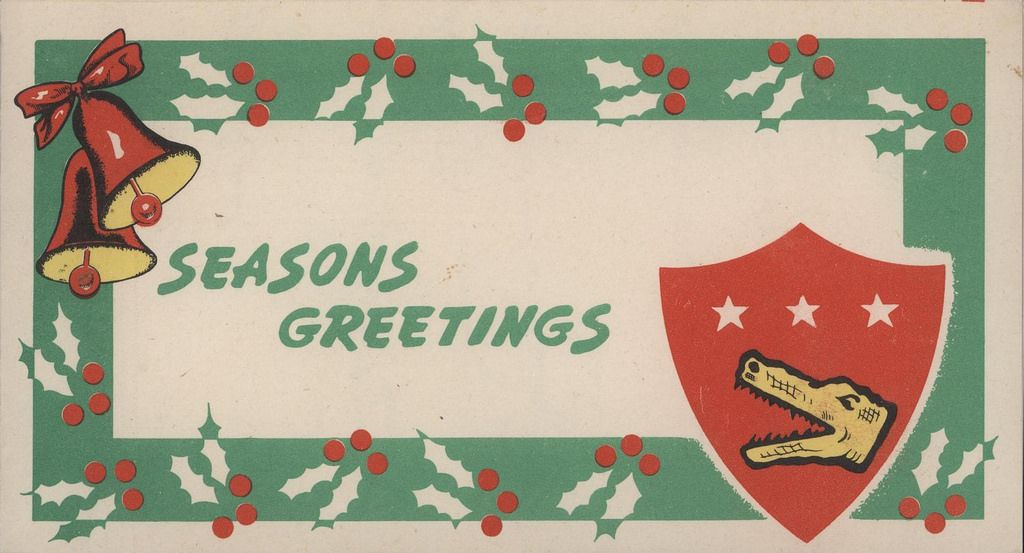 Christmas Card, 5th Amphibious Corps, 5 December 1945, Page 1 of 3  This Christmas card was sent by Eugene Gleason to his wife and daughter while he was stationed in Japan.   From the Eugene Gleason Collection (COLL/249), Marine Corps Archives & Special Collections, Quantico, Virginia   OFFICIAL USMC PHOTOGRAPH