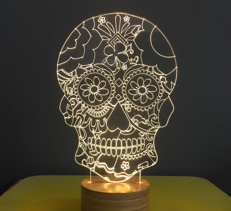 Lampe A Poser Floral Skull Blanc L15cm H23cm Studio Cheha Luminaires Nedgis Studiocheha Nir Chehanowski Floralskull Lamp Floral Skull Buddha Lamp