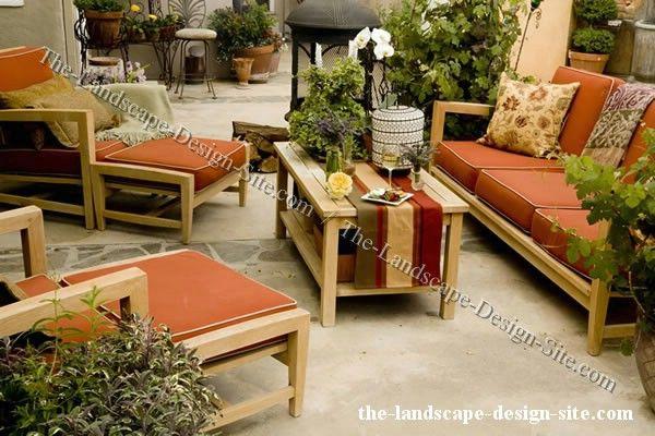 Patio Furnished With Teak Patio Furniture