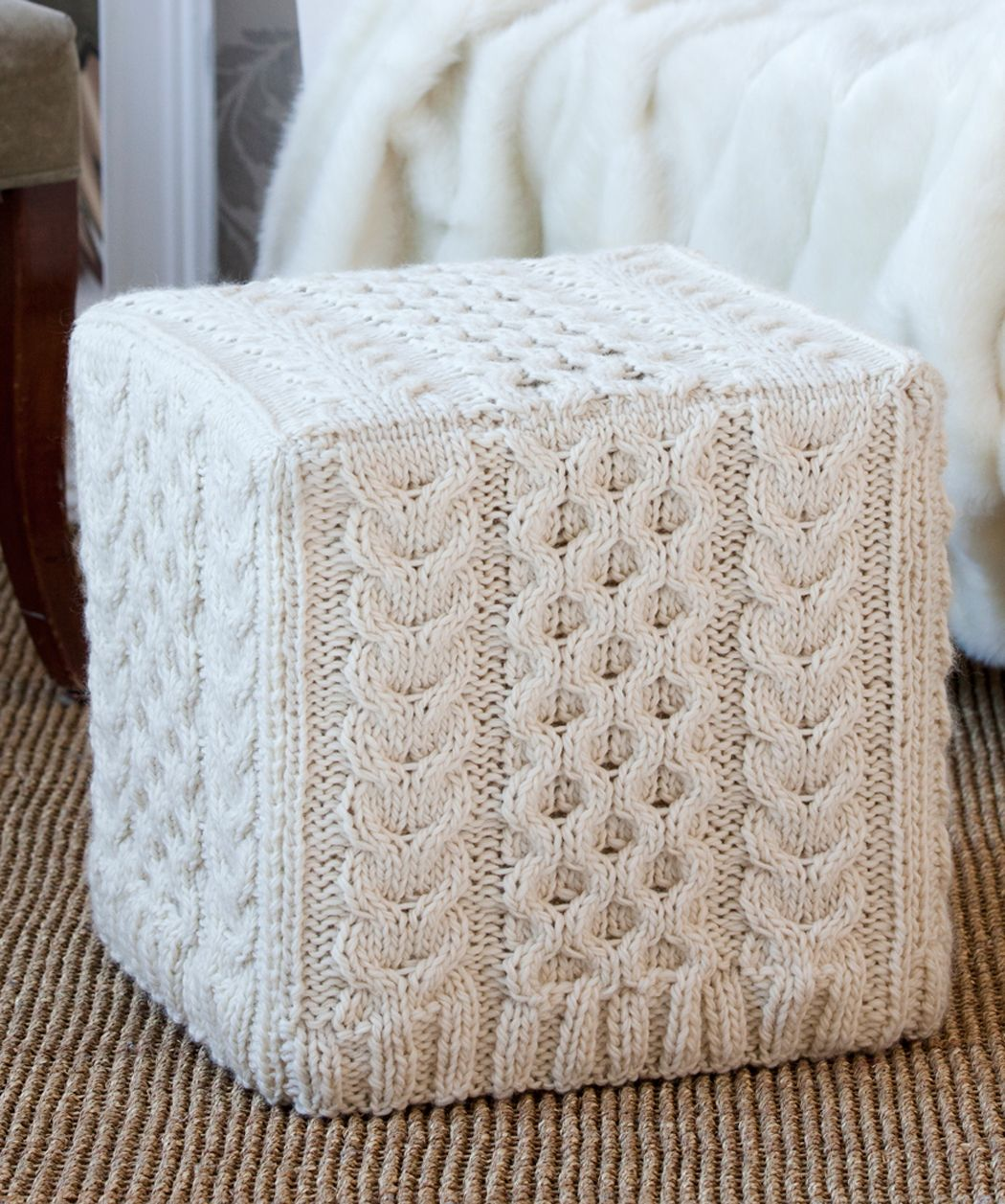 knitted ottoman slipcover genius and beautiful