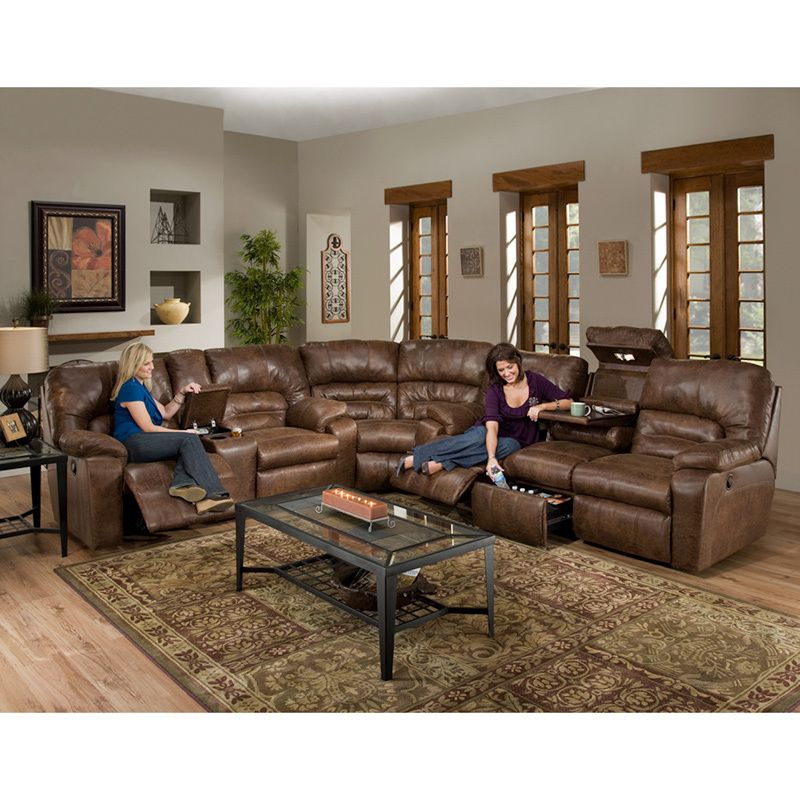 Dakota Motion Brown Faux Leather 3-piece Sectional Sofa - Overstock ...