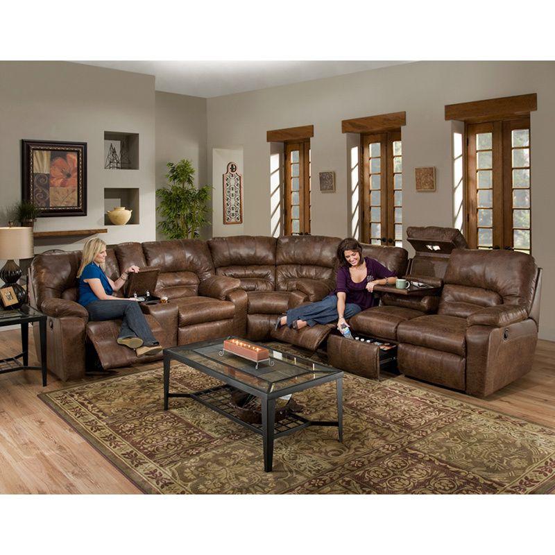 Dakota Motion Brown Faux Leather 3 Piece Sectional Sofa