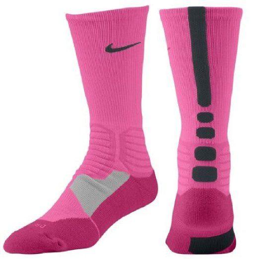low priced 03231 445a8 Amazon.com   Nike Hyper Elite Men s Basketball Crew Socks Pink   Black  (Large)   Sports   Outdoors
