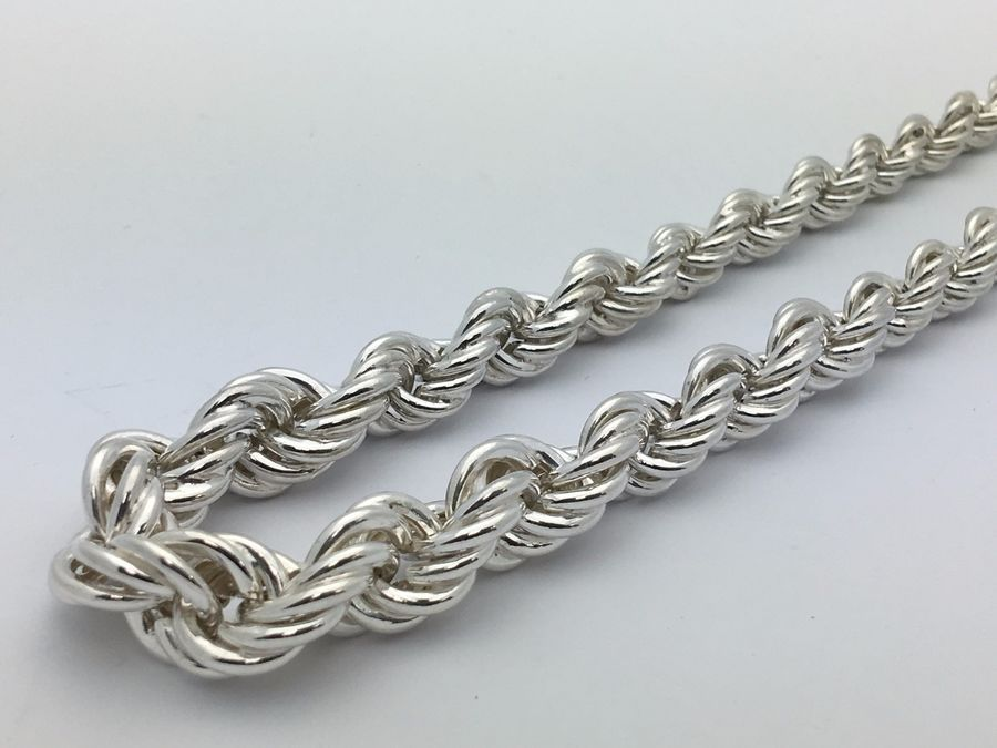 Sterling Silver Hollow Graduated Twisted Rope Chain Necklace 16 7mm 10mm 38 6g Graduated Twisted Rope Chain Necklace Chain Rope Chain