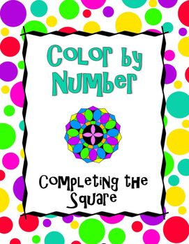 Completing the Square Color by Number | Absolute value ...