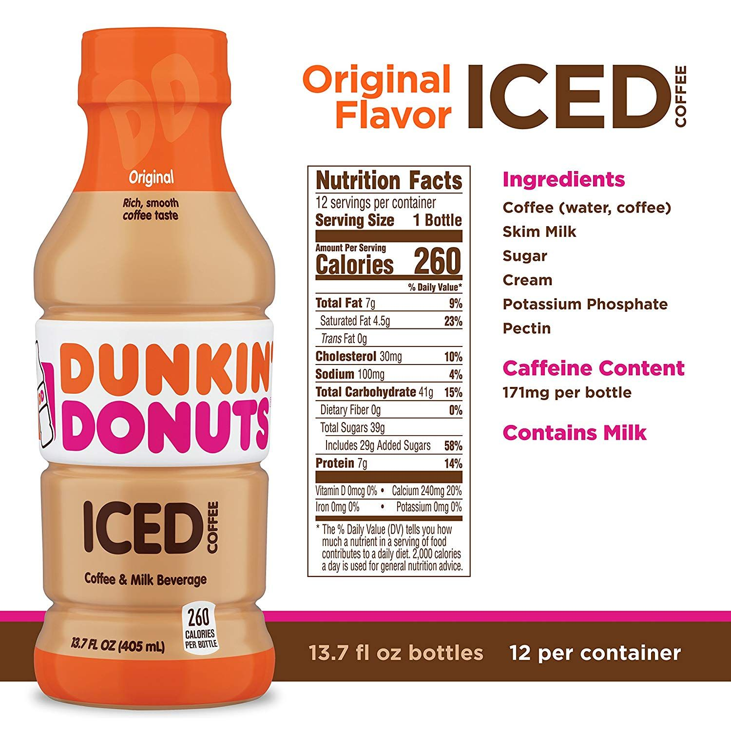 Dunkin Donuts Bottled Iced Coffee Nutrition Facts di 2020