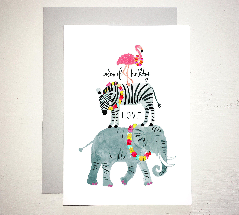 Wild Animal Birthday Card Flamingo Zebra Elephant Birthday Card
