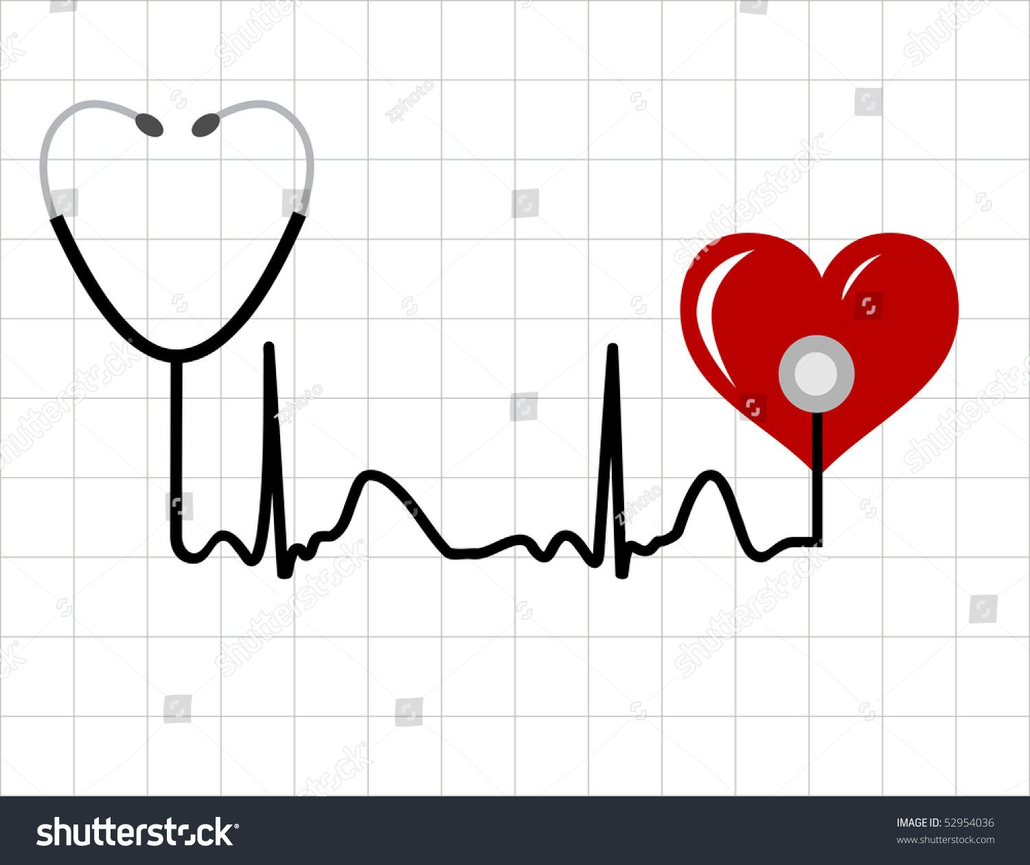 Heart and a medical stethoscope with heartbeat (pulse) symbol