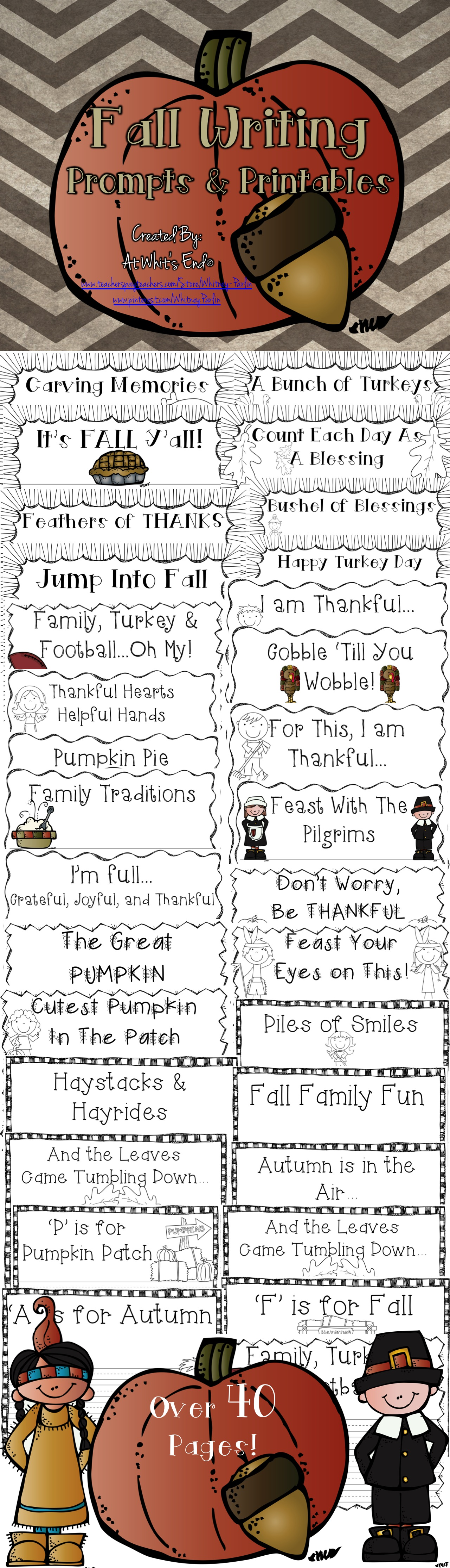 Fall Writing Prompts Amp Printables Fall Autumn Pumpkin And Thanksgiving
