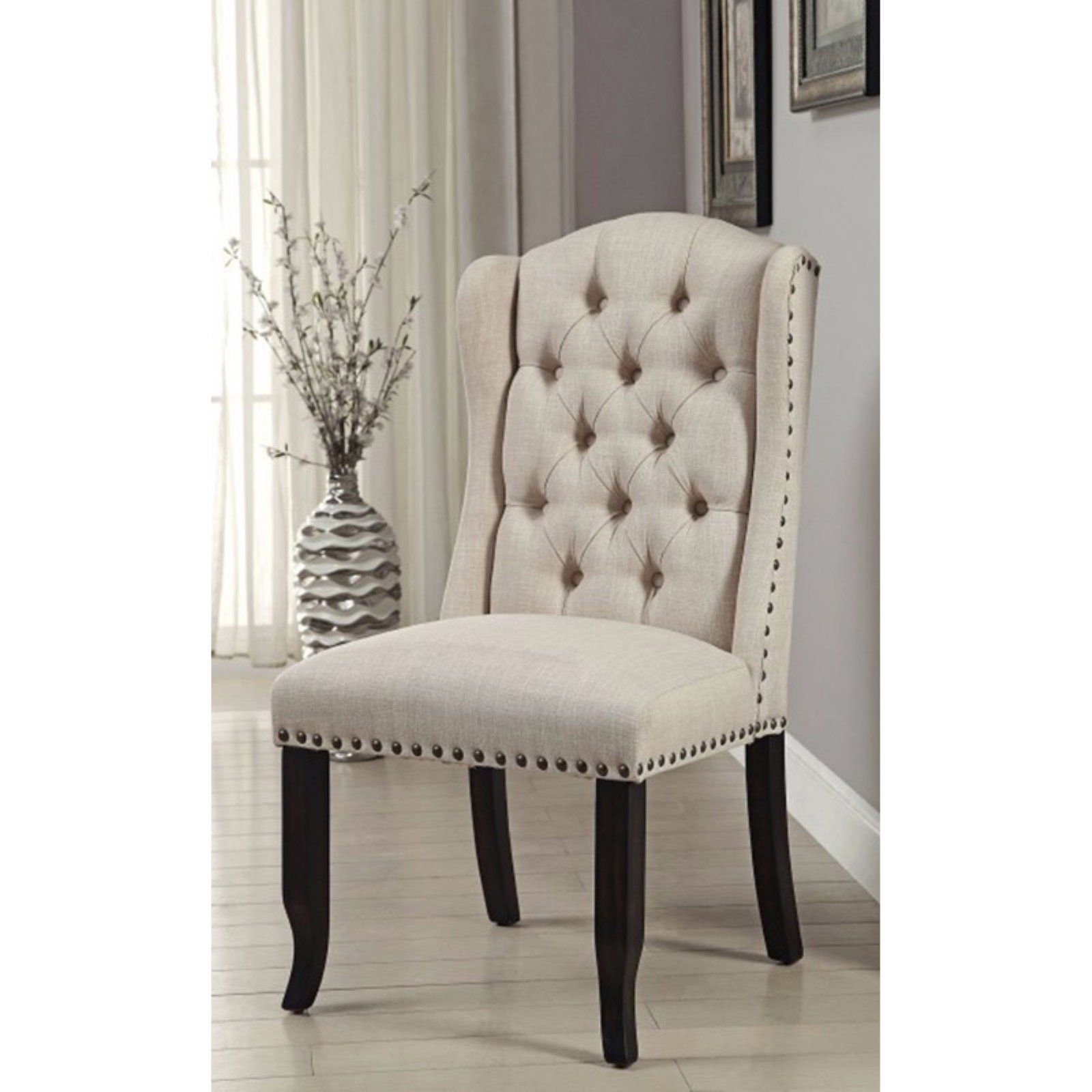 Benzara Sania I Upholstered Wingback Dining Chair Set Of 2 Dining Chairs Wingback Dining Chair Side Chairs Dining
