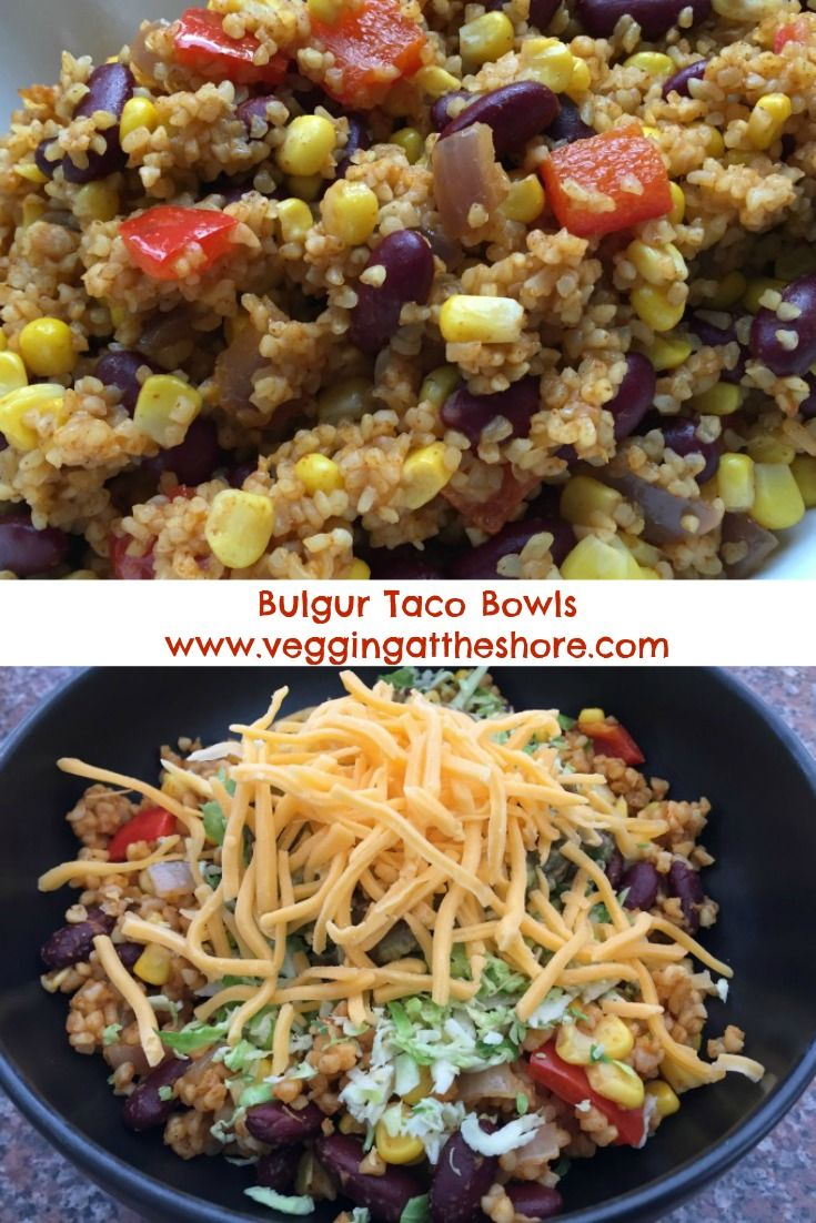 Bulgur is a high fiber, low fat grain that makes a delicious and inexpensive filling for vegetarian tacos.