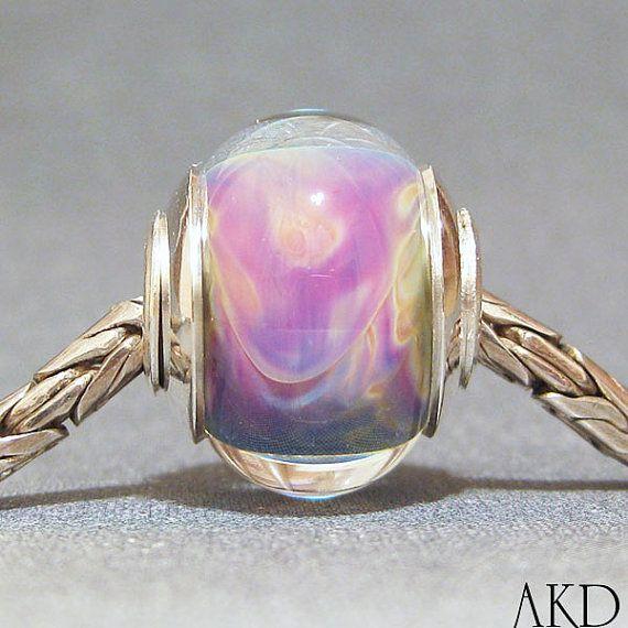 Handmade Artisan Big Hole Bracelet Bead OOAK by AKDlampwork