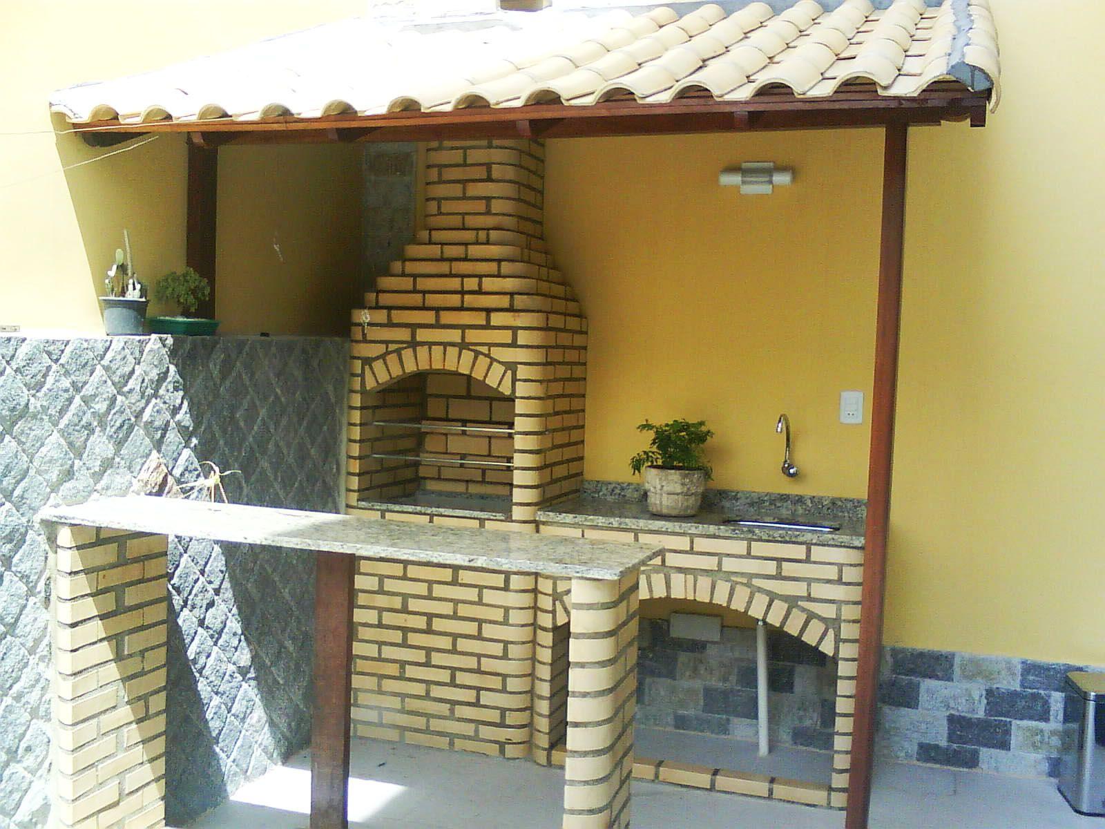 Extremamente Churrasqueira com pia tijolo branco boleado e telhado colonial  YT66