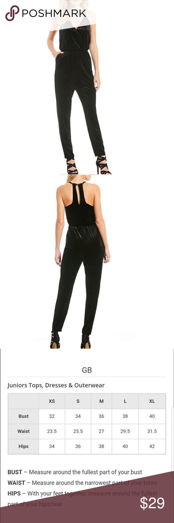 712d68d0316 Gianni Bini · Model · NWT GB Velvet V-Neck Jumpsuit BLACK From GB