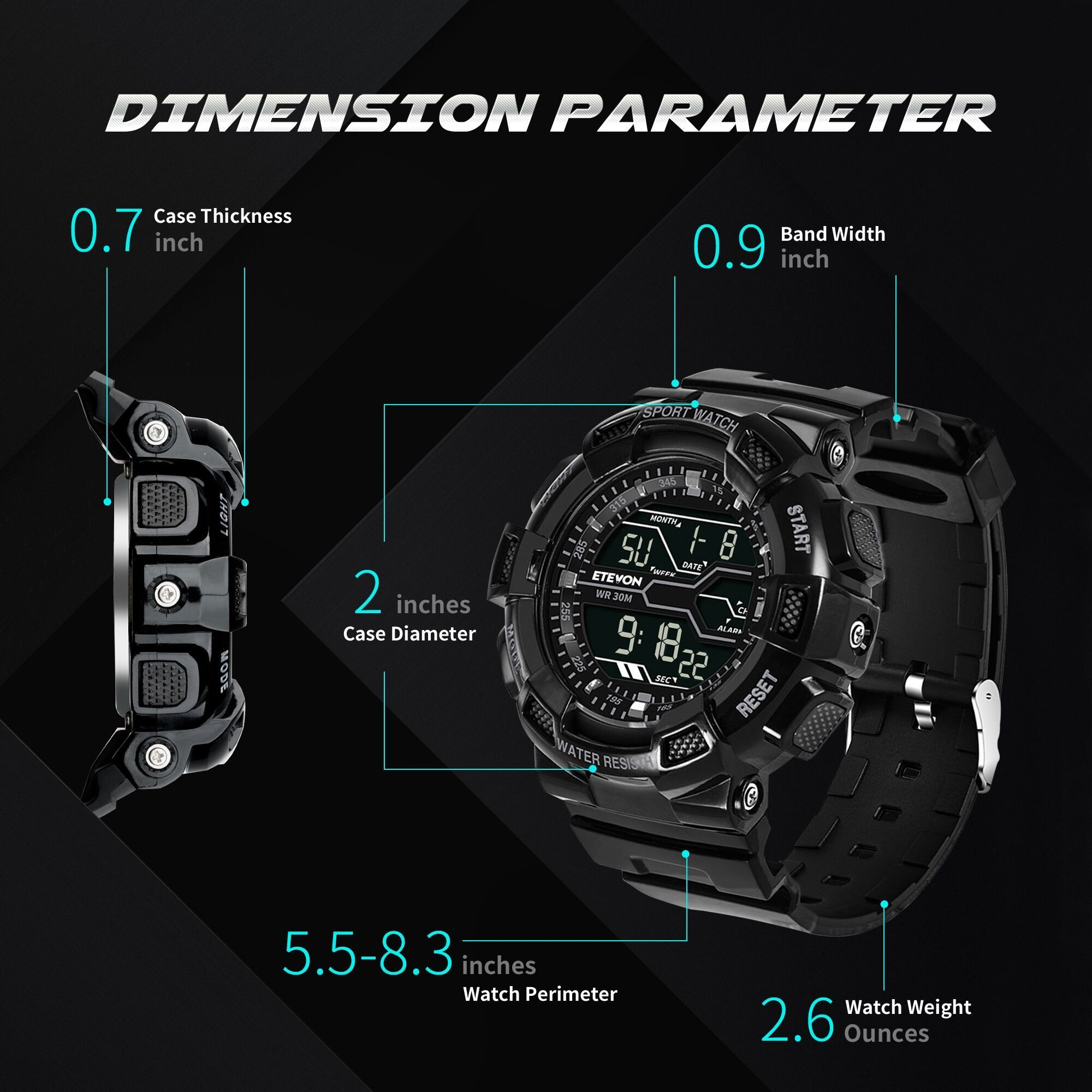 ETEVON Mens Large Dial Sport Digital Watch Military
