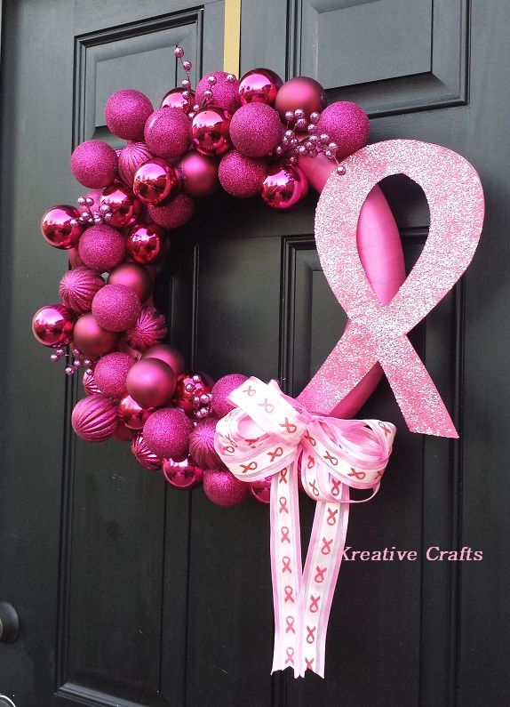 breast cancer awareness wreath for christmas pink ornament bulb wreaths pinterest breast. Black Bedroom Furniture Sets. Home Design Ideas